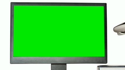 Monitor with a green screen