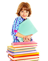 Child with stack of books.