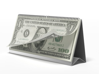 Calendar with dollar bills