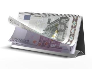 Calendar with euro bills