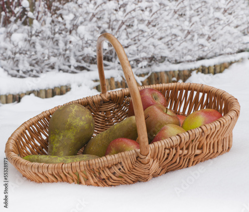 Fresh healthy fruit in winter.