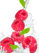 Water splash with raspberry and leaf