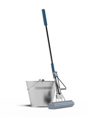 cleaning mop and bucket