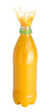 Orange juice splash from a plastic bottle. Isolated