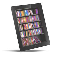 tablet with bookshelf