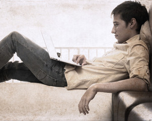 artwork  in grunge style,  boy with laptop