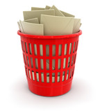 garbage basket and letters (clipping path included)