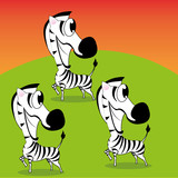 Vector Cartoon Cute Funny Group Of Zebras Smilling