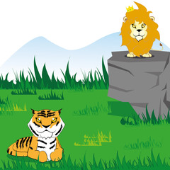 Vector Cartoon Cute Funny Tiger And Lion On Scene