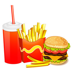 Group of fast food products.