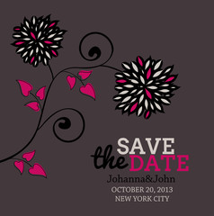Save the date floral invitation