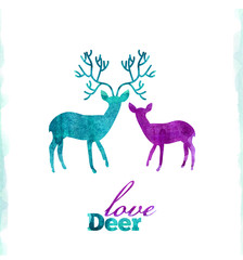 Watercolor deer's love, VECTOR artistic illustration