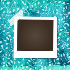 Scrap template with photo frame on blue watercolor background