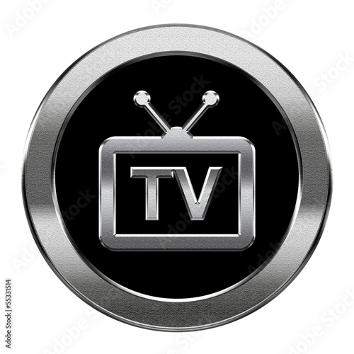 TV icon silver, isolated on white background.