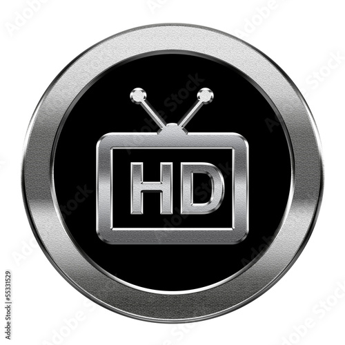 HD icon silver, isolated on white background.