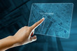 a woman hand use a city map on a screen