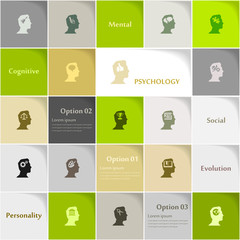 Psychology icon set vector abstract background