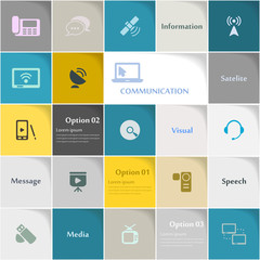 Communication icon set vector abstract background