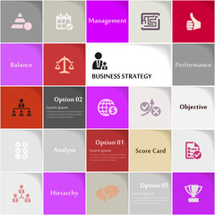 Business strategy icon set vector abstract background