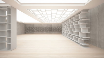 Abstract interior. Stylish white shelves