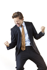 Businessman screaming in victory