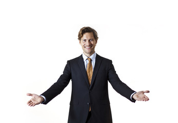 Smiling businessman saying welcome