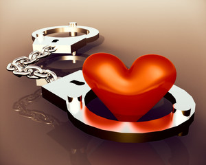 Love heart in handcuffs - conceptual illustration about bonds