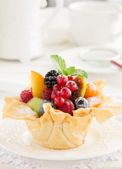 Fruit salad in phyllo dough.