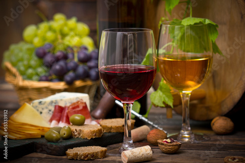 canvas print picture Wine and cheese