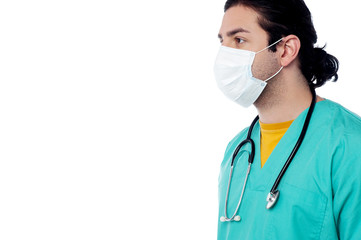 Male surgeon with face mask