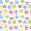 Vector colorful cupcake party seamless pattern background with