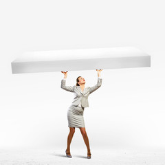 Businesswoman with banner