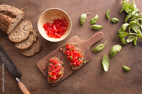 Bruschetta on wooden table