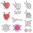 Set of hand knit labels, badges and design elements - 55336106