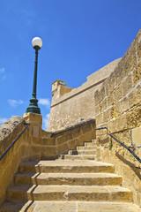 Citadel steps in Victora on island of Gozo, Malta.