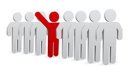 person 3d icon - teamwork leader concept