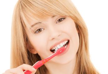 teenage girl with toothbrush