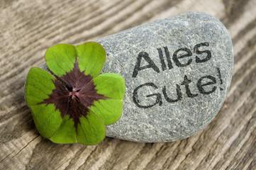 Kleeblatt mit Stein und Alles Gute!