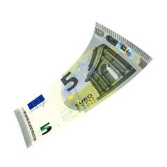 5 Euroschein fliegt
