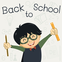 Happy boy with back to school background