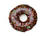 tasty chocolate donut, isolated on white
