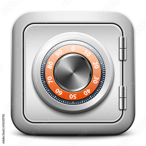 Metal safe icon with combination lock on white background, vecto