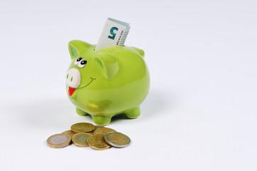 Sparschwein mit 5 Euro Schein und Euro Münzen