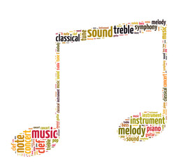 Words illustration of a musical symbol in white background