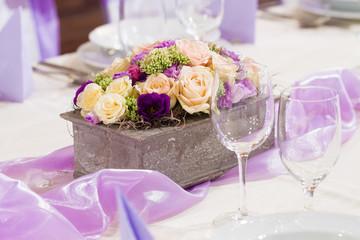 purple wedding decor with flower
