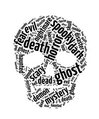 Words illustration of a spooky skull in white background.