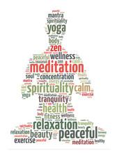 Mots illustration d'une personne faisant la méditation