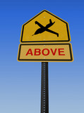 warning drone above sign poster