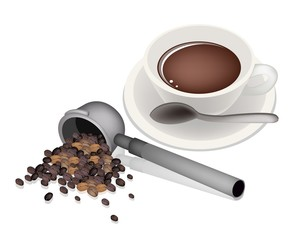Filter Holder for Coffee Machine With Hot Coffee