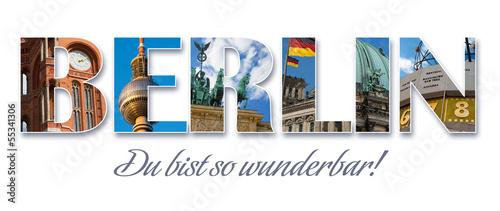 Foto Spatwand Berlijn Berlin - Collage-Schriftzug